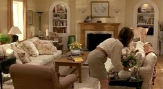 Ooooo, I fell in love with this house when the movie came out!  What house in a movie ever felt more inviting and lovely? Father of the Bride living room-Diane Keaton