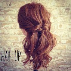 【Today's hair arrange】ねじりハーフアップアレンジ♪^ ^#髪#髪型#ヘアスタイル#ヘアアレンジ#アレンジ#巻き髪#三つ編み#編み込み#ヘアカラー#ツインテール#hair#hairarrange#Braid#fashion#Coordinate#set#mak...