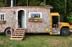 Couple Transform An Old Yellow School Bus Into A Cozy Tiny House