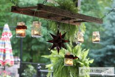 traditional patio Hanging Ladder Lantern Chandelier for the Patio - old ladder & mason jars repurposed Old Ladder, Vintage Ladder, Rustic Ladder, Antique Ladder, Small Ladder, Lantern Chandelier, Hanging Lanterns, Outdoor Chandelier, Jar Lanterns