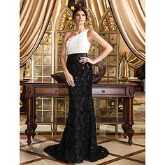 Trumpet/Mermaid One Shoulder Court Train Lace Evening Dress – USD $ 179.99. plus sizes available. purchase at www.lightinthebox.com