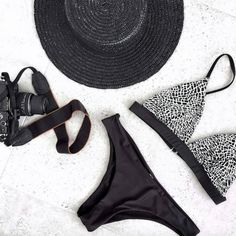 A peak into the holiday wardrobe of bloggers Twice Blessed, loving our Elephant Bralette matched with plain cheeky black bottoms | RH Swimwear Bikini Swimwear, Thong Bikini, Bikinis, Holiday Wardrobe, Bikini Fashion, Bathing Suits, Yves Saint Laurent, Swimming, Celebs