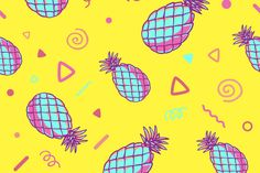 Three fashionable patterns with pineapples by wowomnom on Envato Elements