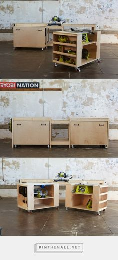 DIY Roll-Away Cart Workstation with Tablesaw and Mitersaw Built in