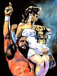 "Macho Man Rand Savage and Miss Elizabeth - Ink and watercolor on 18"" x 24"" watercolor paper"
