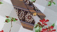 1970s Necktie Vintage Mens Necktie 70s Tie Angelo Correlli Necktie Wide Tie Psychedelic Geometric Op Art Funky Brown Blue Gold Polyester Tie by CherryDollyFace