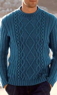 Men's Hand Knitted Crewneck Hand Knitted Crewneck Men's Sweater solid color Long sleeve Pull Crewneck Jumpers Knitwear long jumpers SpringBelstaff – Kallen Crewneck [. Aran Knitting Patterns, Knitting Designs, Hand Knitting, Knit Patterns, Aran Sweaters, Hand Knitted Sweaters, Winter Sweaters, Handgestrickte Pullover, Crewneck Sweater