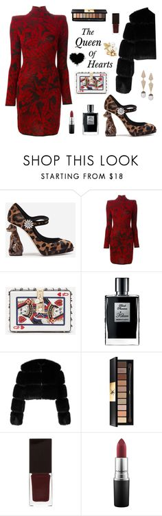 """""""Queen of Hearts"""" by therealmodishmiss ❤ liked on Polyvore featuring Dolce&Gabbana, Balmain, Kilian, Givenchy, Yves Saint Laurent, Serge Lutens, MAC Cosmetics, Oscar de la Renta and houseofmanhik"""