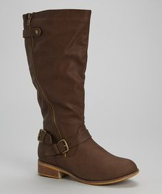 Look what I found on #zulily! Brown Double Buckle Marina Boot by Chase & Chloe #zulilyfinds
