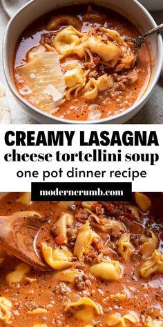 Beef Tortellini Recipe, Cheese Tortellini Recipes, Tomato Tortellini Soup, Beef Soup Recipes, Dinner Recipes, Cooking Recipes, Dinner Ideas, Soup With Ground Beef, Lasagna Soup