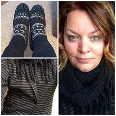 Black skinny jeans + fun socks + striped jacket + warm scarf = cozy outfit for a blustery day. #pinterestinspiredoutfit