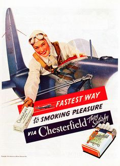 Vintage Ads: Chesterfield Cigarettes: adventure & freedom not political correctness or health Pub Vintage, Vintage Labels, Chesterfield Cigarettes, Vintage Cigarette Ads, Posters Vintage, Old Advertisements, Retro Ads, Old Ads, Adventure Quotes