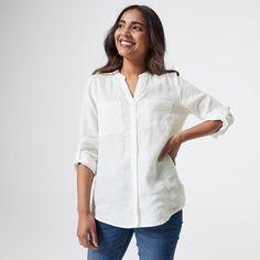 Dannii Minogue Petites Long Sleeve Linen Shirt - White | Target Australia