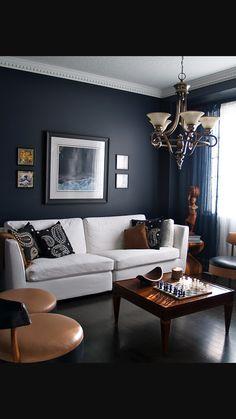 Navy walls, living room
