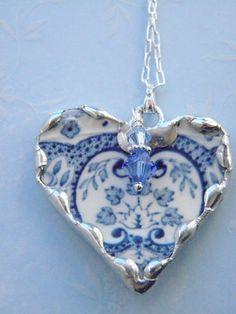 Broken China Jewelry Light Blue Transferware Necklace via Etsy