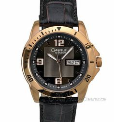 Caravelle by Bulova Watch (NEW) Mens Rose Gold, Leather Band, Day/Date $110 MSRP