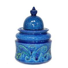 Raymor Rosenthal Netter Bitossi Italy Pottery Covered Lidded Bowl Ginger Jar Vtg