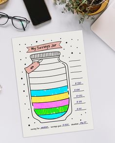 Love this idea of filling out a savings jar. Creating A Bullet Journal, Self Care Bullet Journal, Bullet Journal Tracker, Bullet Journal Notebook, Bullet Journal Aesthetic, Bullet Journal School, Bullet Journal Inspo, Bullet Journal Layout, Work Journal