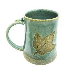 Stoneware Pottery Mug with Leaf by CrookedCreekStudio1 on Etsy