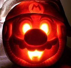Mario!  Cool pumpkin carving.