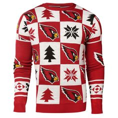 Arizona Cardinals NFL Forever Collectibles Red   White Knit Patches Ugly  Sweater 8613c719a