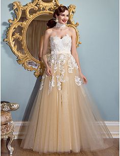 Homecoming Formal Evening Dress - White A-line Sweetheart Floor-length Lace/Tulle – GBP £ 102.19