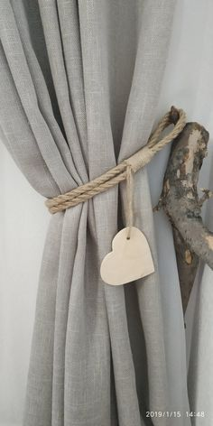 Rope Curtain Tie Backs with Wooden Heart Nursery Curtain Tie image 7 Curtain Tie Backs Diy, Rope Curtain Tie Back, Rope Tie Backs, Curtain Ties, Farmhouse Curtains, Rustic Curtains, Beaded Curtains, Drapes Curtains, Caravan Curtains