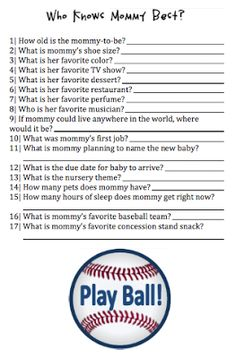 Who Knows Mommy Best? Baby Shower Game, Baseball Themed Baby Shower, Free Printable
