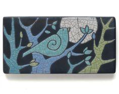 Birds Ceramic tileWhimsicalturquoiseyellow handmade di DavisVachon