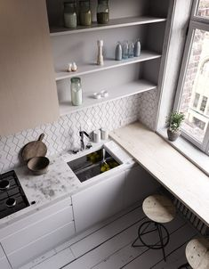 best small kitchen design ideas for your tiny space 43 Studio Kitchen, Kitchen Room Design, Dining Room Design, Home Decor Kitchen, Diy Kitchen, Kitchen Interior, Home Interior Design, Home Kitchens, Kitchen Ideas