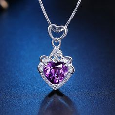 YWM ΚΟΣΜΗΜΑΤΑ 100% ΑΣΗΜΙ 925 Αγάπη μου ζωή κολιέ κρεμαστό κόσμημα με φυσικό μοβ κρύσταλλο Διπλό αγάπη στυλ κοσμήματα 2018 Νέο Heart Ring, Diamond, Rings, Jewelry, Jewellery Making, Jewels, Ring, Jewlery, Heart Rings