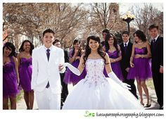 Quinceañera, damas and chambelanes in purple Quinceanera Planning, Quinceanera Cakes, Quinceanera Dresses, Quinceanera Ideas, Sweet 16 Dresses, 15 Dresses, Wedding Dresses, Tiffany Blue, Sweet 16 Pictures