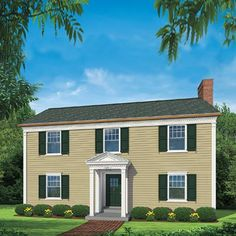 A proud new portico and ornamental trim give a plain two-story a gracious new look Colonial House Exteriors, Colonial Exterior, House Siding, Facade House, Portico Entry, Front Porch Addition, Cedar Shutters, Small Front Porches, North Carolina Homes