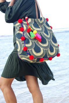 Bolsa de playa pompón o borlas bolsas/Bohemia playa bolsos