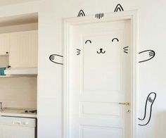 Home decor Cutest door decoration.perfect for kids room. Sisi the Smug Cat Door decal / Wall decal for by MadeofSundays Kawaii Bedroom, Cat Bedroom, Bedroom Doors, Closet Bedroom, Teen Bedroom, Bedroom Ideas, My New Room, My Room, Nursery Decor