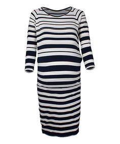 Marine & Gold Stripe Maternity Scoop Neck Dress