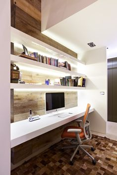 I know this is an ofifce but I like the wood and white shelves for a bathroom. instead of a mac make it the sink.... :)