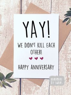 Excited to share this item from my shop: funny anniversary card, first annivers. Excited to share Anniversary Message For Boyfriend, Happy Anniversary To My Husband, Anniversary Quotes For Husband, Anniversary Wishes For Husband, Birthday Greetings For Boyfriend, Anniversary Quotes Funny, Happy Anniversary Cards, Boyfriend Card, Cute Notes For Boyfriend