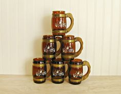 Vintage Siesta Ware Mugs Cowboy Mugs Western Mugs Amber Mugs Beer Mugs Barrel Mug Wood Handle Mugs Amber Glass Fathers Day Gift Western Bar by HipCatRetroVintage on Etsy