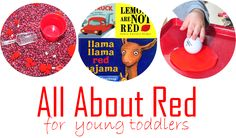 red sensory box, activities, and books for toddler color learning