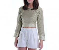 Linen Crop Top With Gold Detail. Pair it with white linen pants or skirt for a great spring look! Only $69 at www.zankhna.com