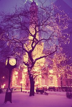 Beautiful picture of the old Historic Water Tower in downtown Chicago   #snow #winter