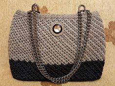 Navy Blue Grey Crochet Bag Gift for Her by handknittedbymaria
