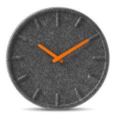 Felt 35 Clock - Orange Hands LEFF Amsterdam via shopuntil Clock Orange, Orange Wall Clocks, Wall Desk, Desk Clock, Sebastian Herkner, Retro Vintage, Hollywood Mirror, Wall Clock Design, Solid Wood Furniture