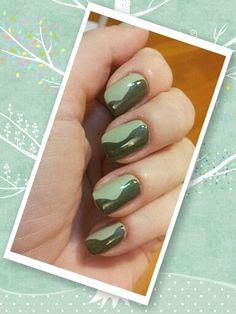 Free hand nail art! Zoya Yara + Essie Da Bush greens!