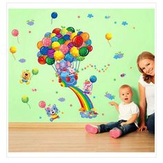 Cheap wall sticker, Buy Quality adesivo de parede directly from China kids stickers Suppliers: Hot Air Balloon Cartoon Children Children Bedroom Decoration DIY Kids Sticker Adesivo De Parede Home Decals Wall Stickers Kids Room Wall Stickers, Kids Stickers, Wall Stickers Murals, Family Stickers, Wall Decals, Hot Air Balloon Cartoon, Rainbow Wall Decal, Poster Decorations, Baby Room Diy