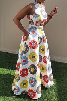 Material Twilled Satin Silhouette Expansion Dress Length FloorLength Sleeve Length Sleeveless Combination Type Single Waist Line StandardWaist Closure Pullover Elasticity MicroElastic Detachable Collar No Pattern Geometric,Color Block Embellishment - f African Maxi Dresses, African Fashion Ankara, Latest African Fashion Dresses, African Dresses For Women, African Print Fashion, African Attire, Ankara Dress Styles, African Dress Styles, African Dress Designs