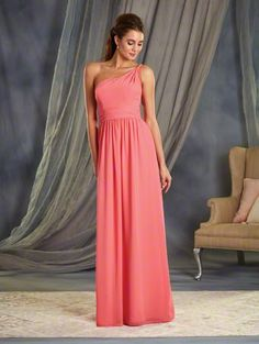 Alfred Angelo Style 7369L: one shoulder long floor length bridesmaid dress is adorned with a twisted beaded strap