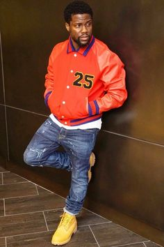 Kevin Hart wearing Gucci Chenille-appliqué wool and leather bomber jacket, Timberland Classic Wheat Boots