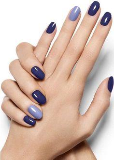 Pop Of Blue - Violet Azure Nail Art Design - Essie Nail Polish Looks Stylish Nails, Trendy Nails, Cute Nails, My Nails, Classy Nails, Prom Nails, Simple Nails, Dark Blue Nails, Blue Gel Nails